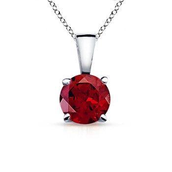 Angara Round Garnet Necklace for Women in Platinum CWMEviUh