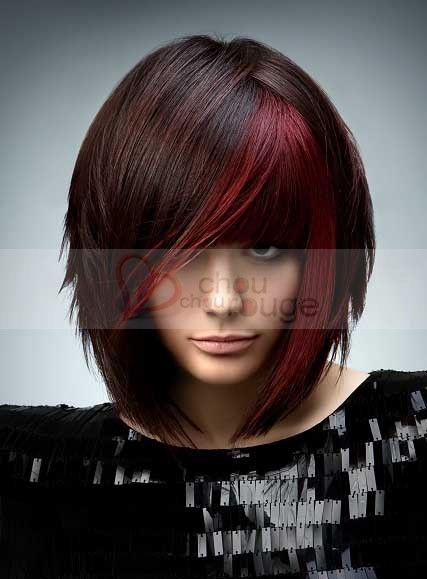 perruque cheveux naturels carr plongeant et m ches rouges coiffure pinterest m che rouge. Black Bedroom Furniture Sets. Home Design Ideas