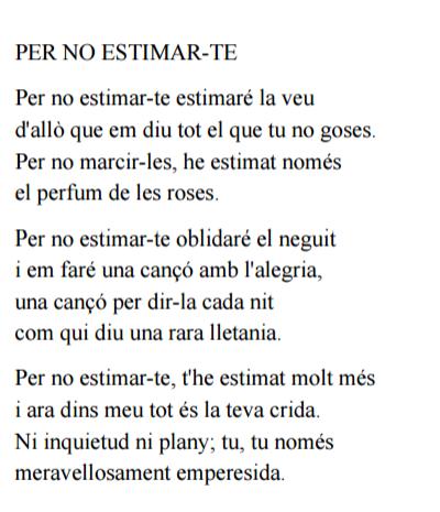 El Poema Del Mes De Maig Per No Estimar Te De Miquel Martí I Pol Es Liceu Poemas Poesía Frases En Catalan