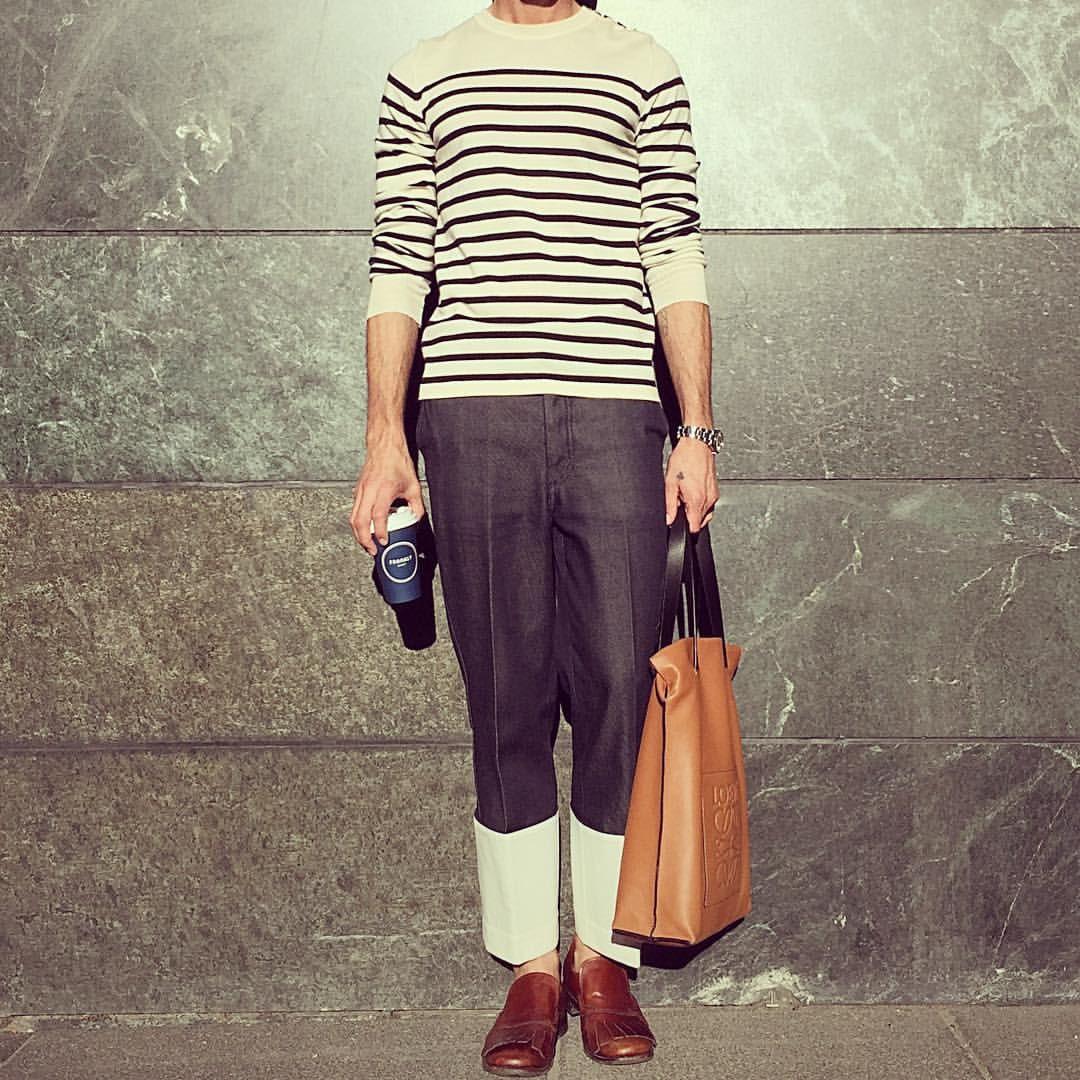 Sailor #knit #bruunsbazaar #trouser #loewe #shoe #vintage #prada #bag #loewe #menslook #menstyle #menswear #mensoutfit #mensfashion #streetstyle #streetfashion #ootd #outfit #outfitoftheday #look #style #styling #kimgrenaalook @bruunsbazaar @prada