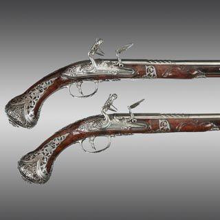 Flintlock Holster Pistols Italian By Lerme With Barrels By