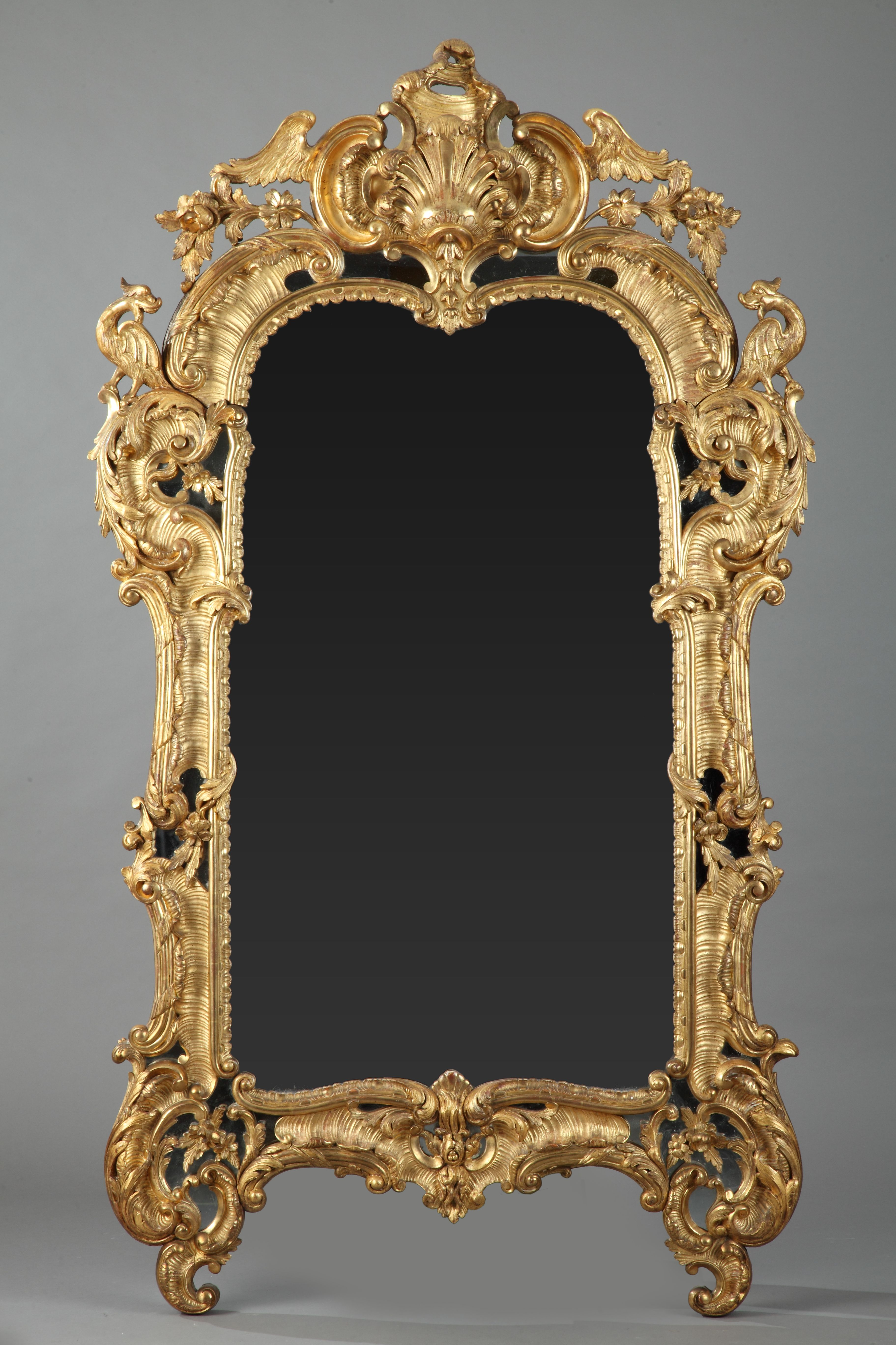 miroir en bois dor de style louis xv poque napol on iii estilo luis xv espejo de madera y. Black Bedroom Furniture Sets. Home Design Ideas
