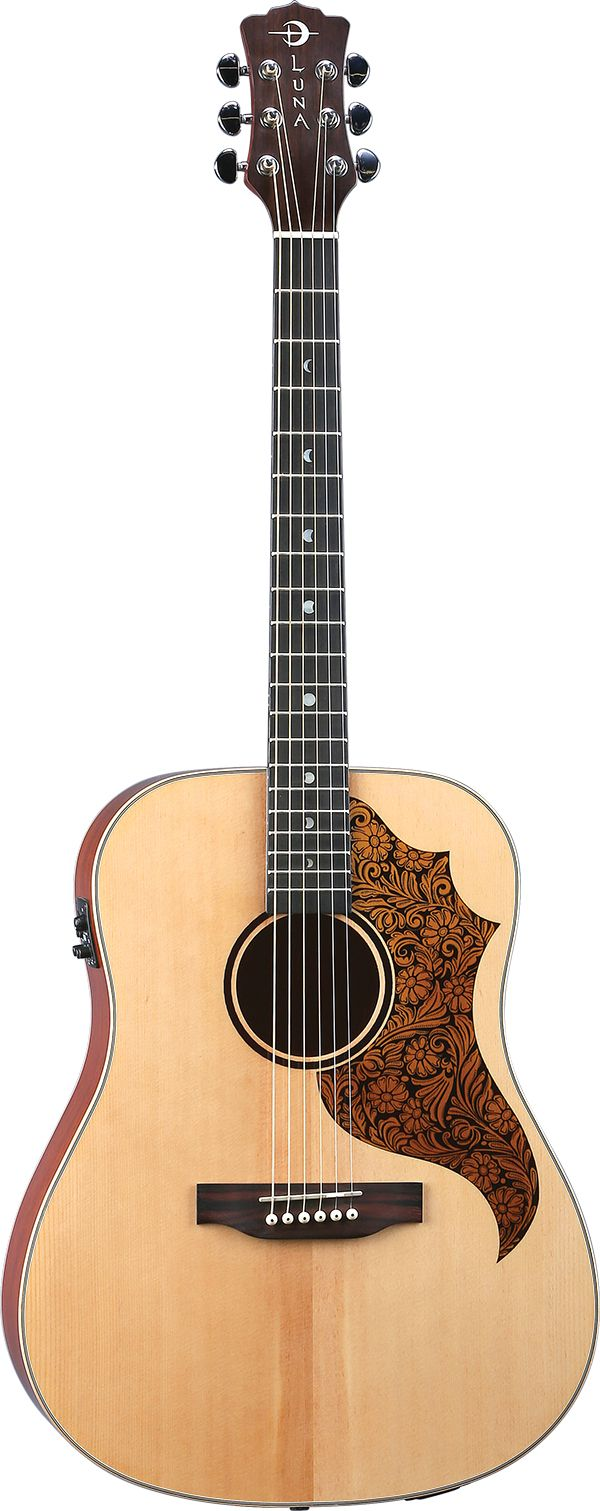 Amt100 Full Dreadnought Profile With Tooled Leather Look Pickguard Acoustic Guitar Luna Guitars Acoustic Electric Guitar