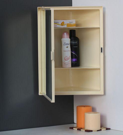 Buy Plastic Cream 3 Compartment Bathroom Cabinet With Mirror L