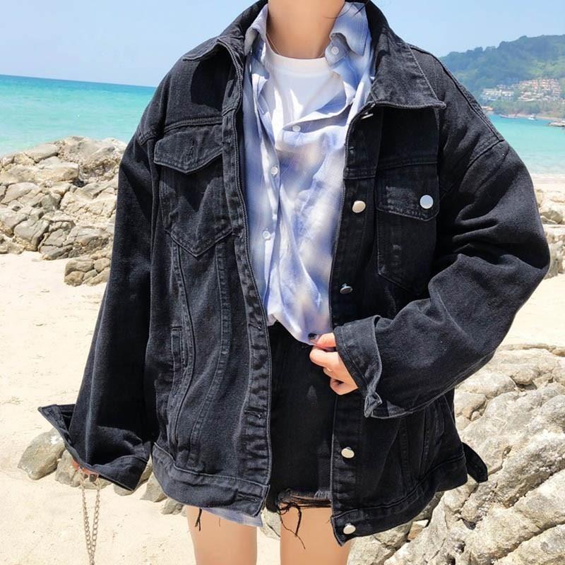 Spring Fall Korean Casual Black Denim Jacket Oversized Women Loose Coat Button Pocket Long Sleeve Jean Long Denim Jacket Denim Jacket Women Black Denim Jacket