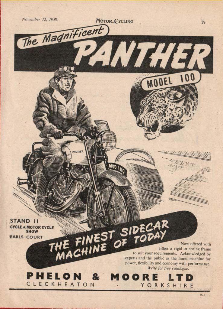 PANTHER M100 MOTORCYCLE METAL SIGN.VINTAGE BRITISH MOTORCYCLE.CLASSIC.