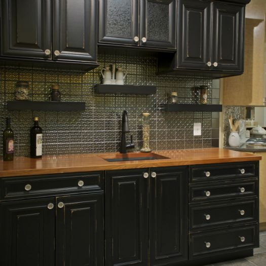 Black kitchen cabinets with wood countertops kitchen for Kitchen black cupboards