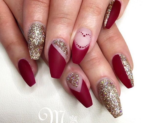 Matte Red N Gold Champagne Glitter With Dot Heart French Red And Gold Nails Red Nail Polish