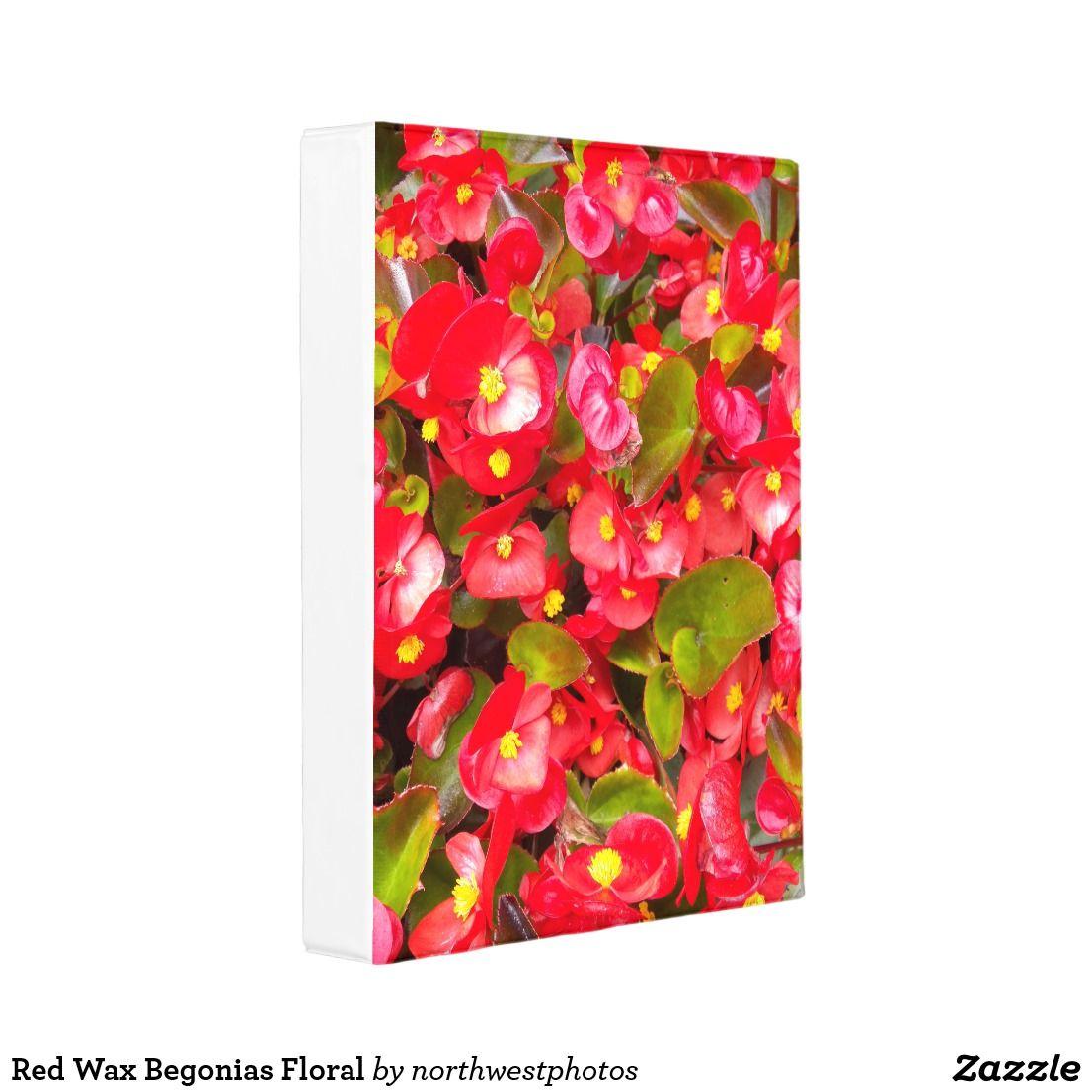 Red Wax Begonias Floral Photo Mini Binder