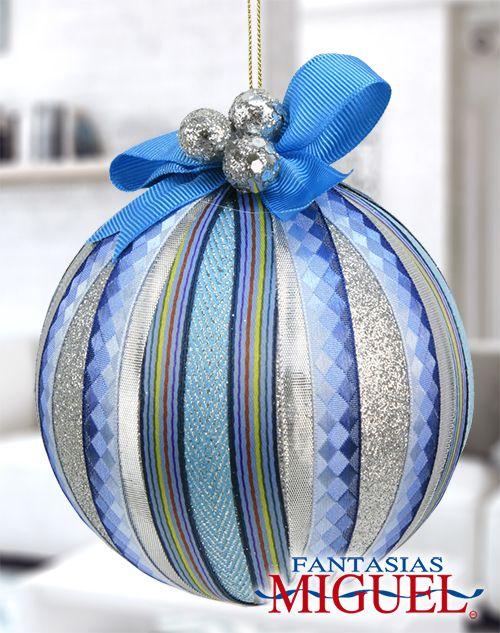 Esfera Azul Listón Diamantina Navidad 2014 Adorno