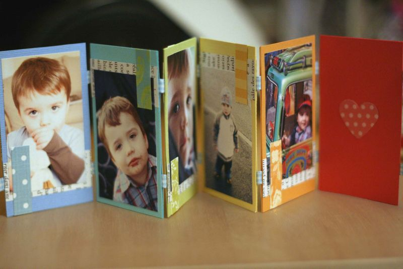 Mini photo album made with old business cards things to upcycle mini photo album made with old business cards reheart Choice Image