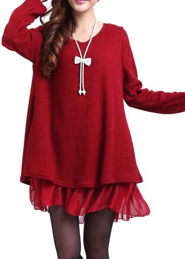 Bowknot Decorated Long Sleeve Red Sweater Dress | FASHION-PLUS ...
