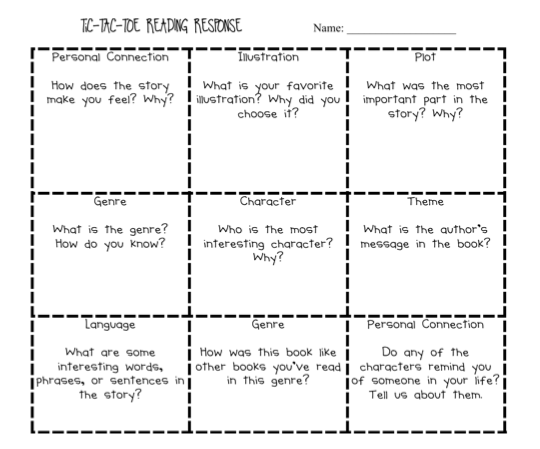 TIC-TAC-TOE Higher Level Comprehension Questions (2nd-3rd grade ...