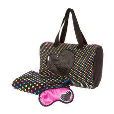 Rainbow Polka Dot Duffel Bag,  Blanket and Sleep Mask Set