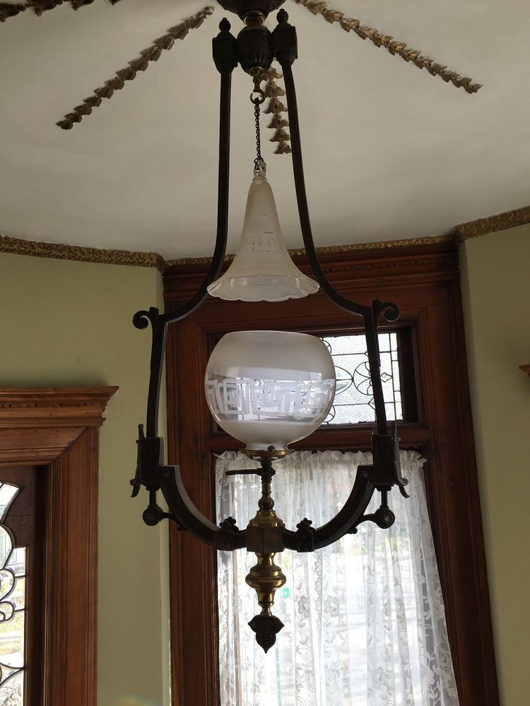 EXQUISITE EARLY 1800\'S ANTIQUE VICTORIAN TWO TONE HANGING GAS LAMP ...