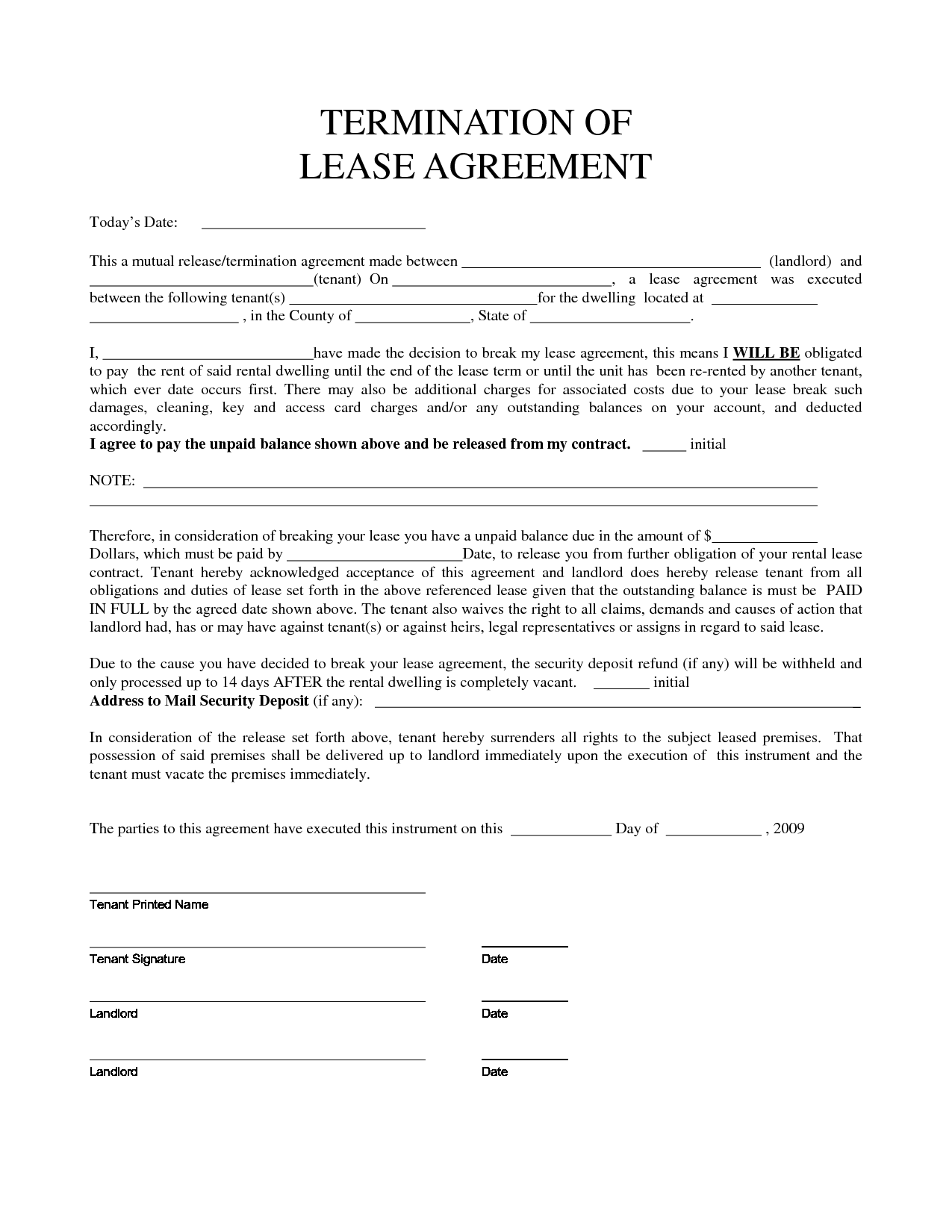 Personal Property Rental Agreement Forms – Tenant Lease Form