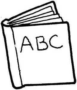 Books abc. Black and white clip