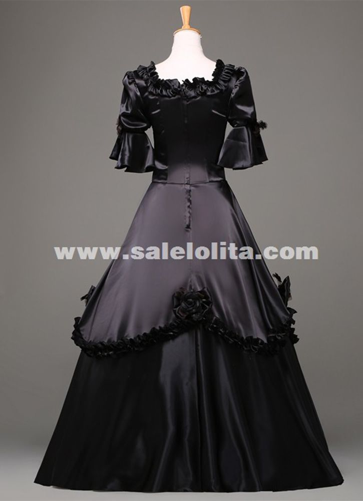 Black Vintage Gothic Rococo Ball Gown Adult Halloween Party Dresses ...
