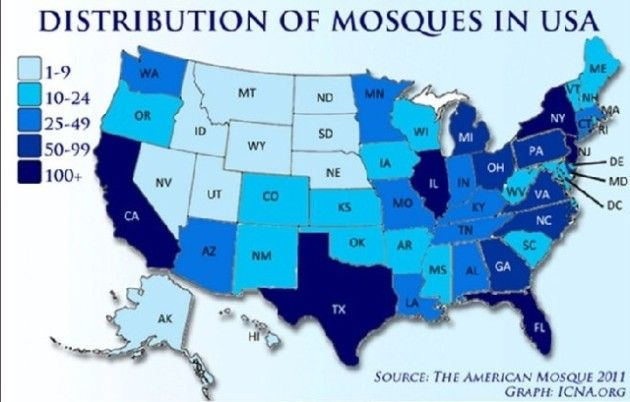 US centers of Islamic activity form interesting map America