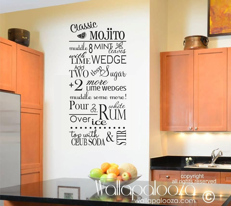 mojito wall decal kitchen wall decal recipe wall decal on wall stickers for kitchen id=91103