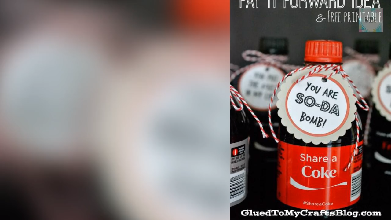 Pay It Forward Gift Tag Printable For Soda Bottles Free To Download Video Video Free Printable Gift Tags Free Gift Tags Gift Tags Printable