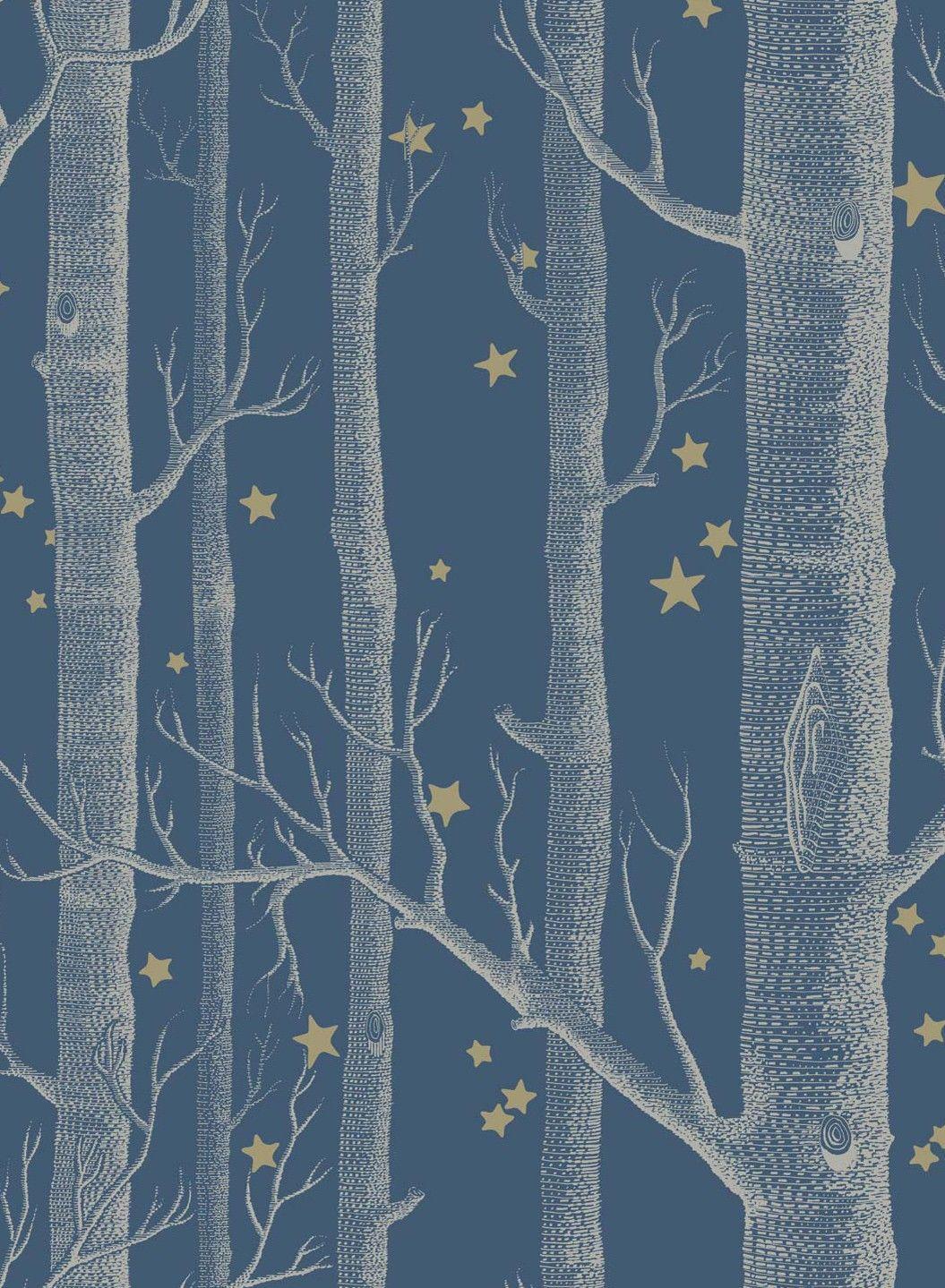 Papier Peint Woods And Stars Blanc Sur Bleu Fonce De Cole And Son