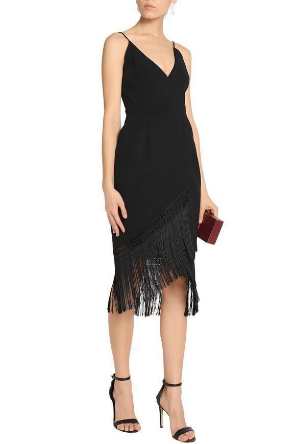 Wrap-effect fringed crepe midi dress | NICHOLAS | Sale up to 70% off