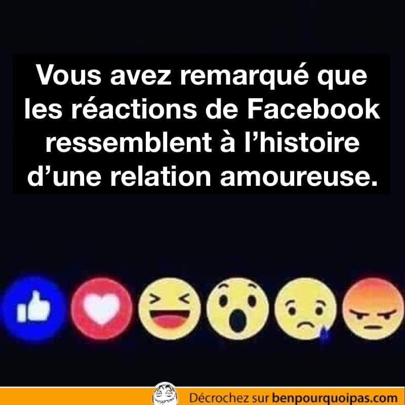 Les Reactions De Facebook Racontent L Histoire D Un Couple Facebook Reactions Benpourquoipas Humour Jokes Blagues Drole Humour Blague Drole
