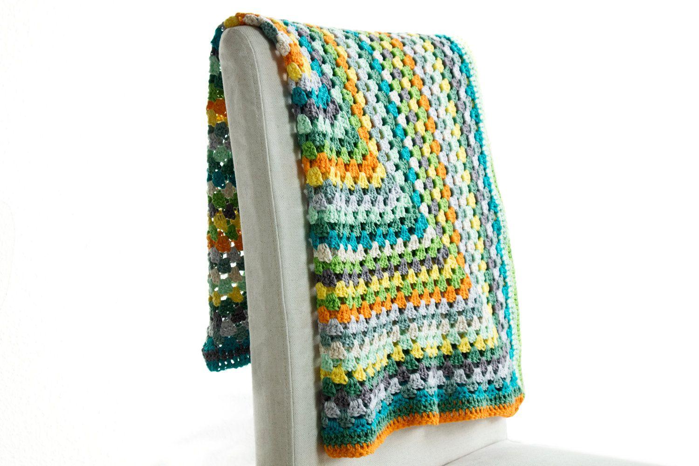 Colorful Crochet Blanket Granny Square Baby Blanket Cotton Kapok