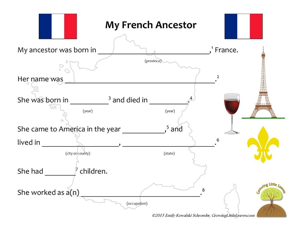 My French Ancestor Worksheet Growinglittleleaves