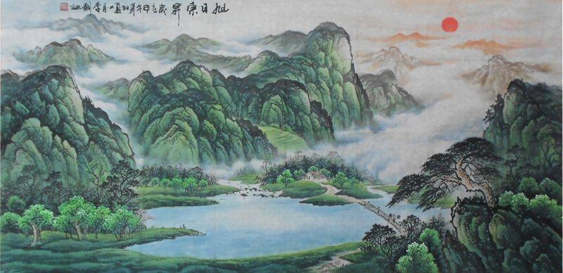 Nature Art Painting For Sale Rising Sun Feng Shui Original Landscape Painting