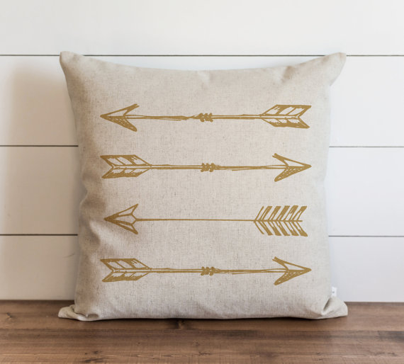 Arrows_Gold 20 x 20 Pillow Cover // Everyday // by porterlanehome