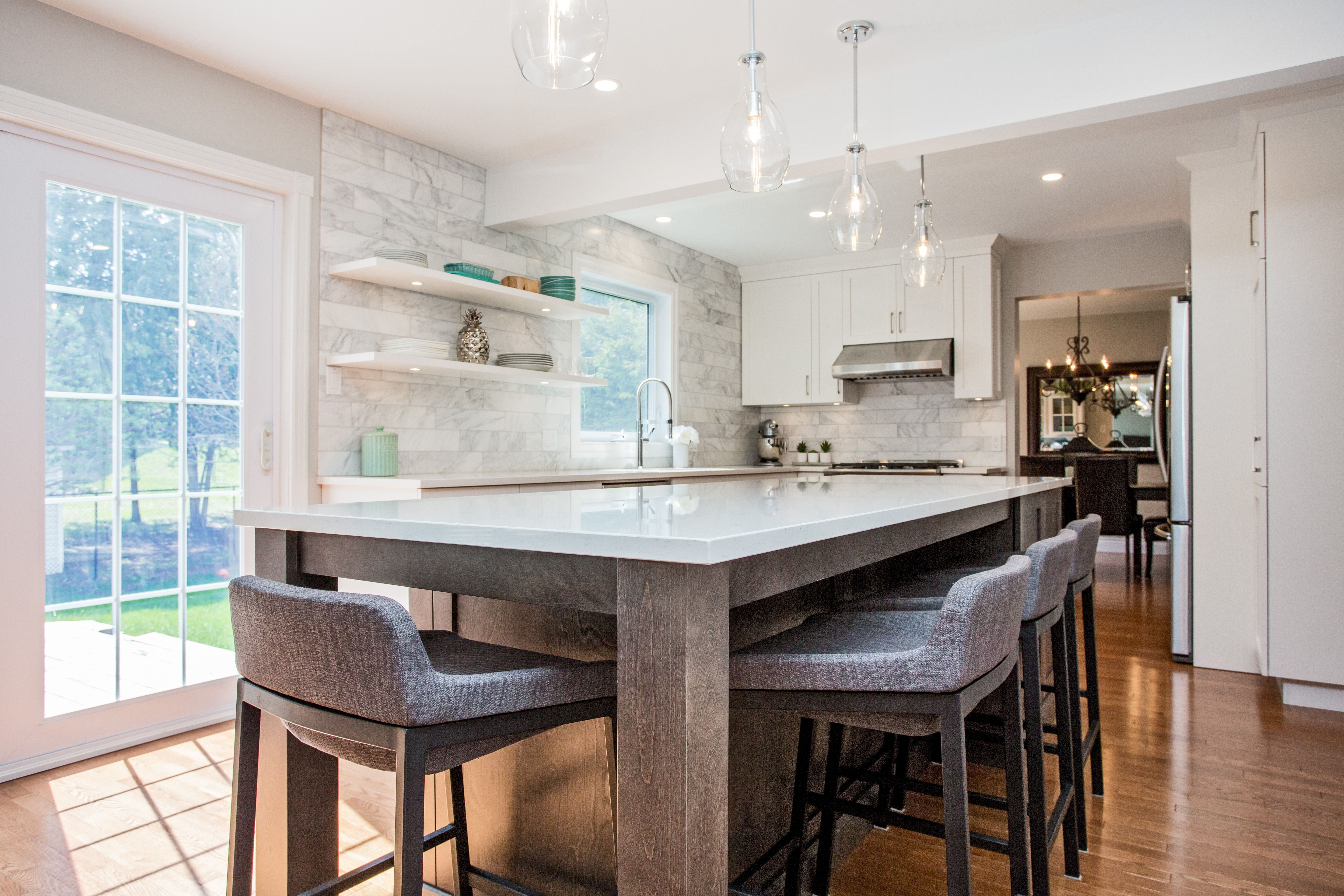 Transitional Kitchen. White and smoky grey. Extra Large ...