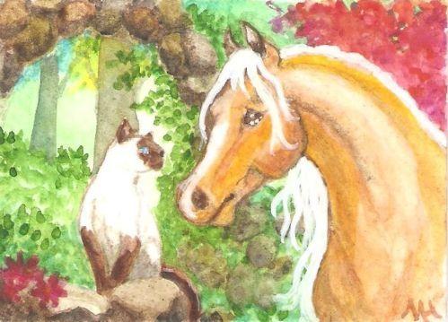 ACEO Garden Friends Horse Palomino Siamese Cat Flowers Original M Haskins | eBay
