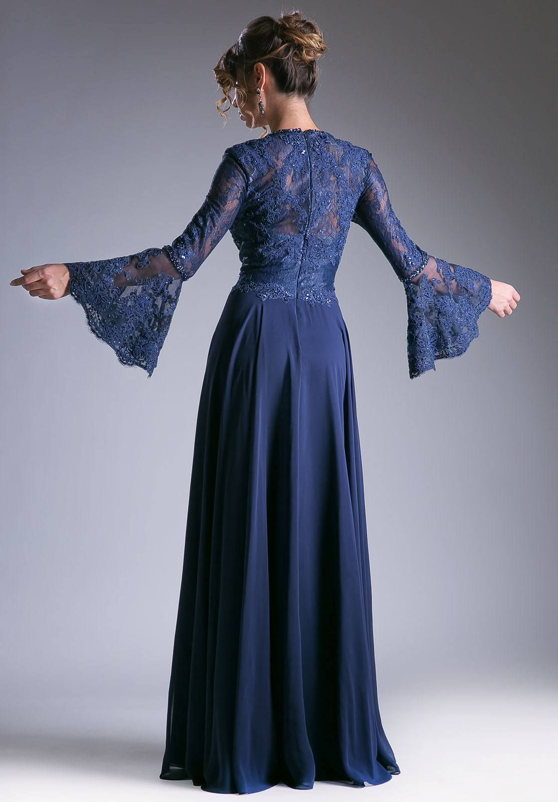 Navy Formal Dress With Sleeves