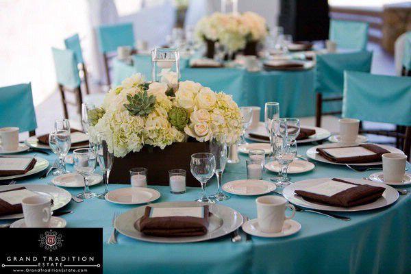 deco de table bleu marron deco mariage anniversaire arc en mariage ...
