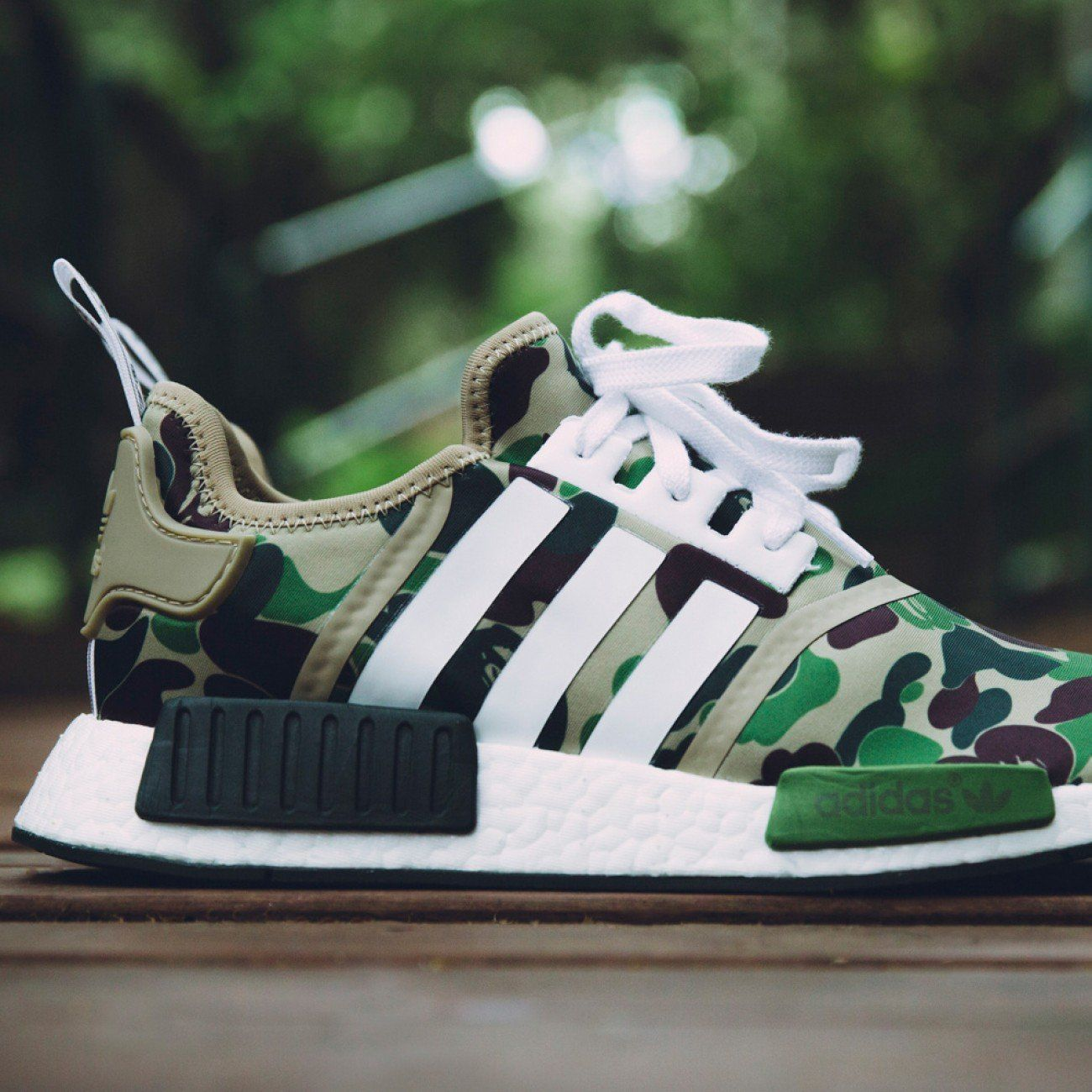 bape x adidas nmd r1 green camo