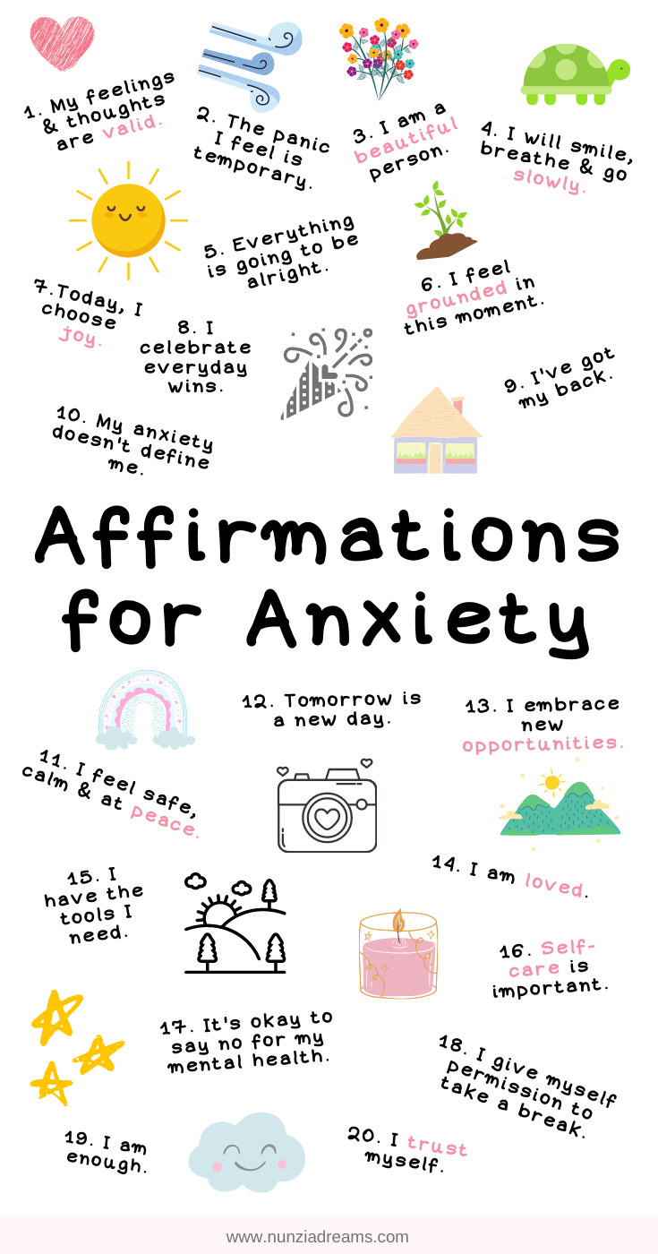 Calming Positive Affirmations for Anxiety + Printables!