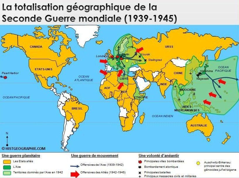 Carte De La Totalisation Geographique De La Seconde Guerre