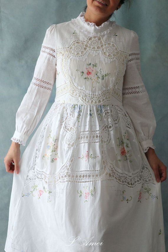 ea6c74cbf8939 Lovely Handmade Vintage Style White Organic Cotton Lace by LAmei ...
