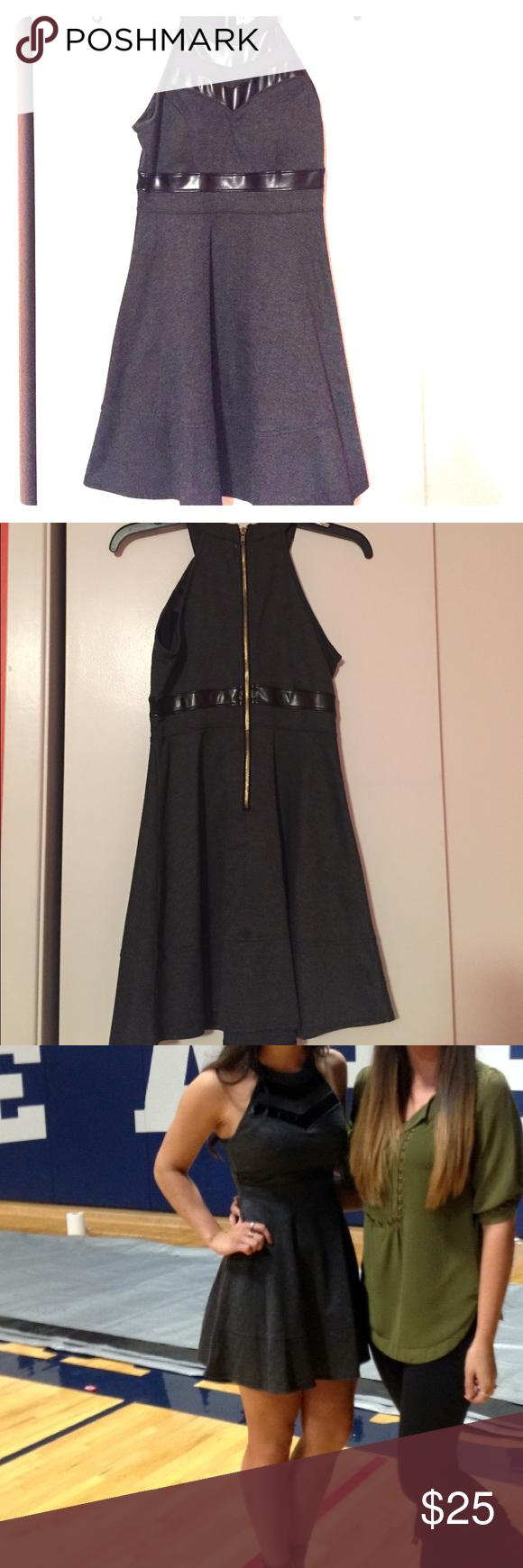 Grey emerald sundae dress with leather detail pinterest skater