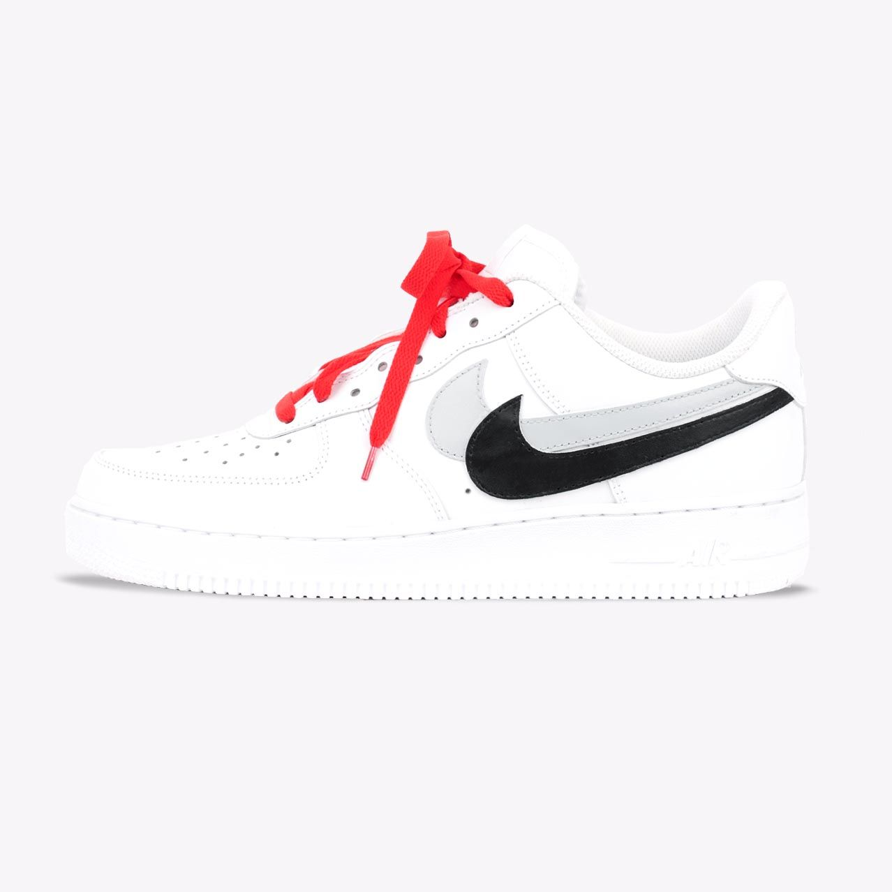 "more photos 94157 7af9e This timeless Nike Air Force 1 low top sneaker features two hand-painted  swooshs, the inside swoosh is cut off and glued on the outside to create  the "" ..."