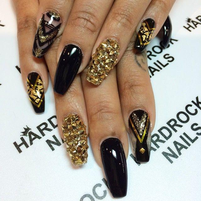 black and studded gold nail design bmodish - Glamorous Black And Gold Nail Designs Gold Nail, Gorgeous Nails