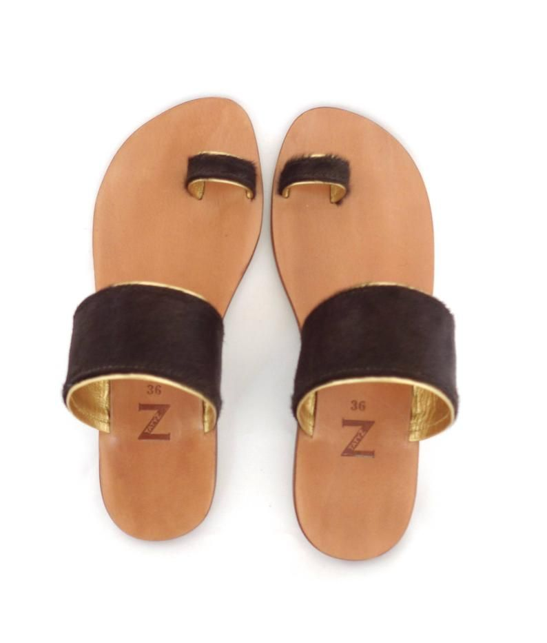 1c626b518 5-10 US size (35-40 EU) Women toe-ring dark brown pony-hair & gold ...