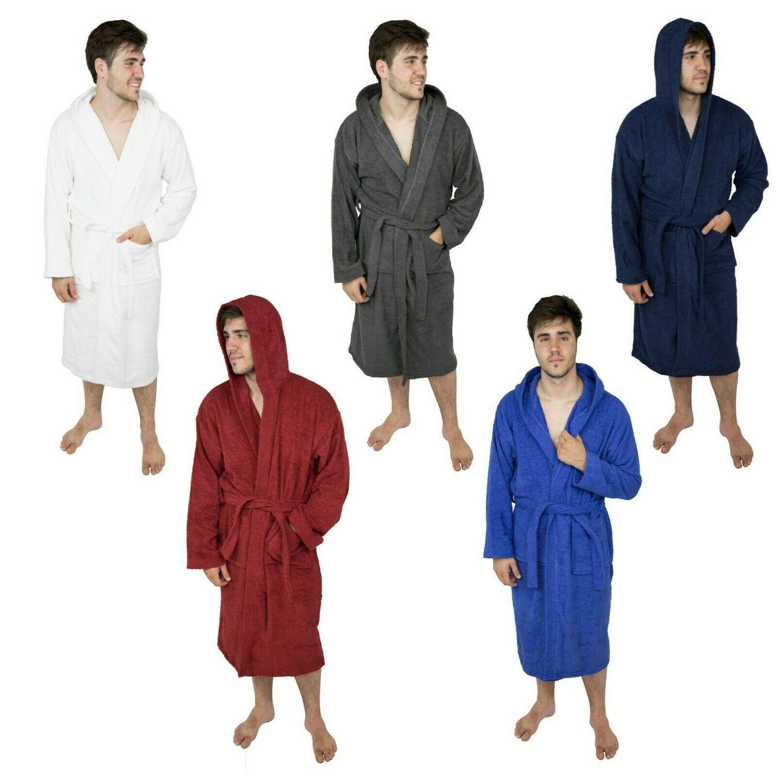 Mens Hooded Bathrobe Terry Cotton Cloth Robe Men Shawl Collar Bathrobe For Mens