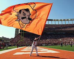 OSU Cowboys College Football Helmet Flag