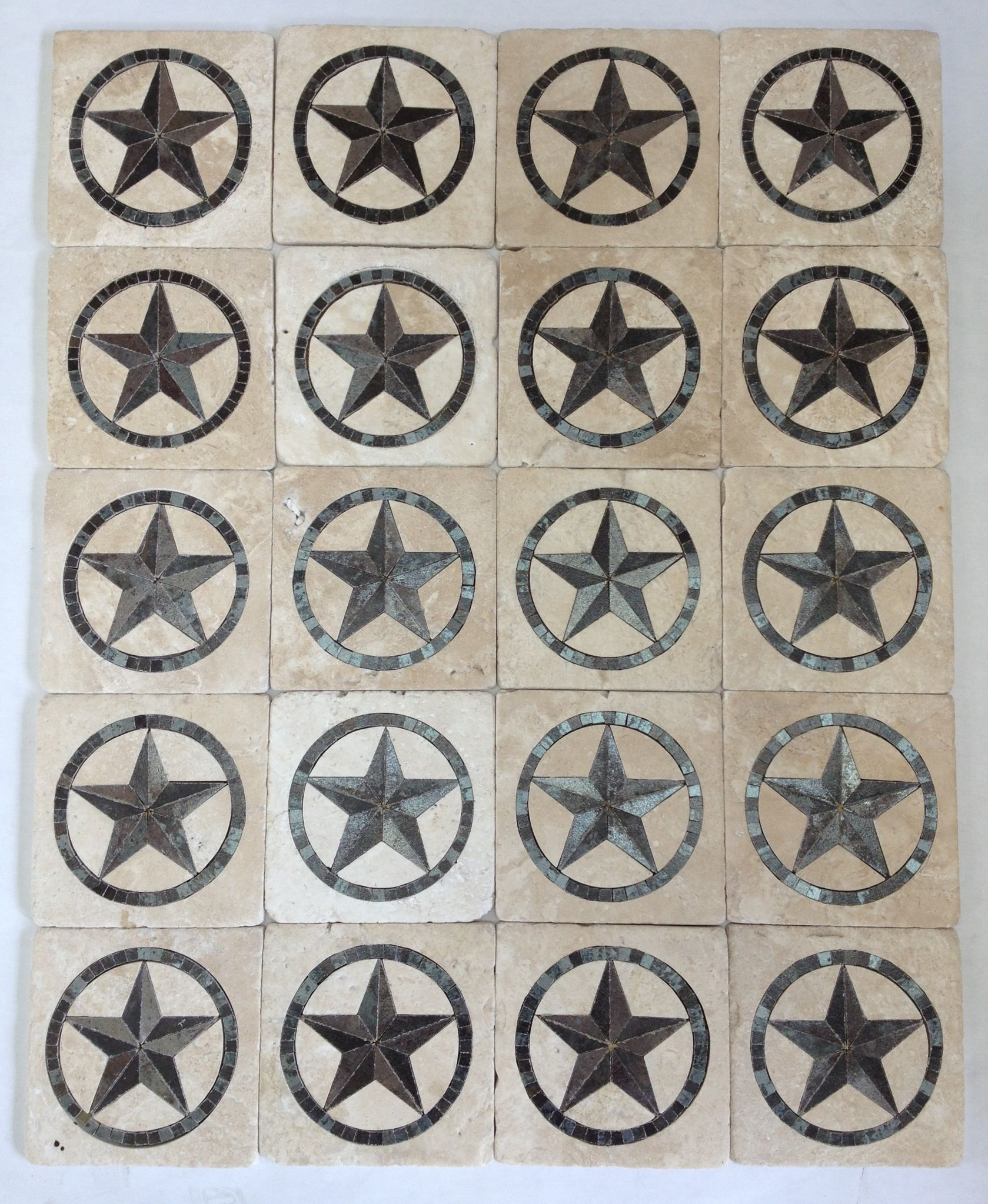 6x6 tumbled travertine with texas star inserts for backsplash in