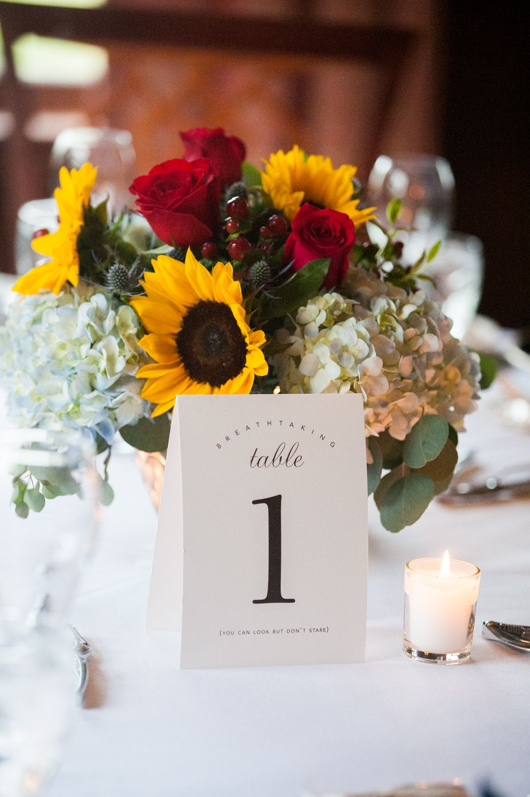 Wedding Reception Table Decorations Sunflowers Red Roses And