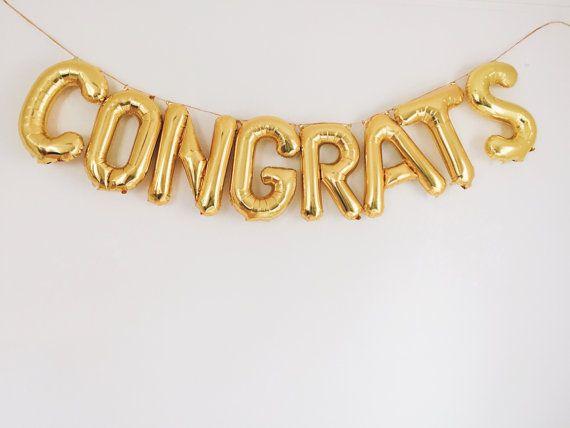 Congrats balloons gold mylar foil letter balloon banner kit congrats balloons gold foil mylar letters balloon banner garland kit only altavistaventures Choice Image
