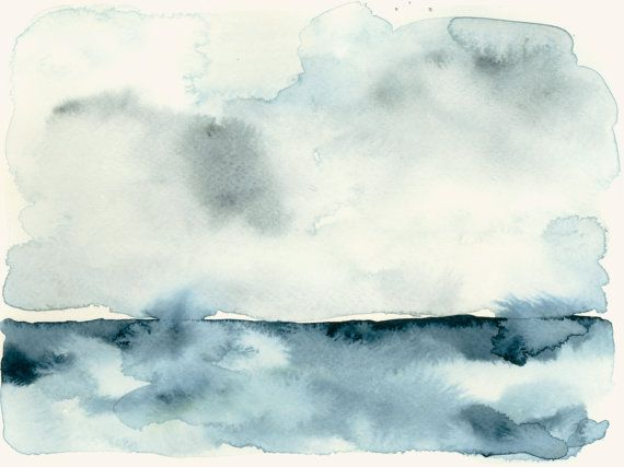 Watercolor Art Print Clouds Over The Sea Watercolor Art Prints